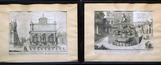 Pair of Italian Fountains Framed Art Prints