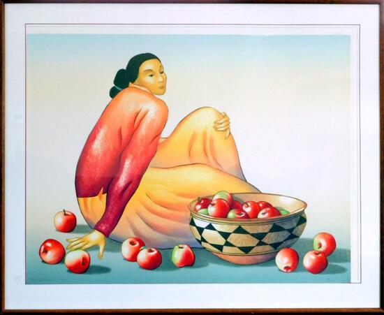 R. C. Gorman Woman with Apples, Signed, Framed Lithograph