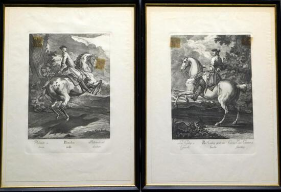 Grouping of Two Johann Elias Ridinger Horse with Rider Prints