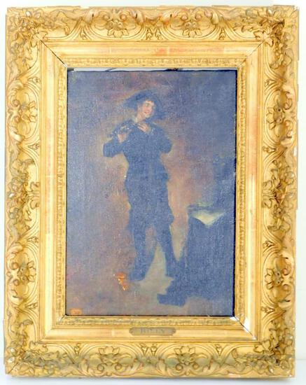 "Enrico Belli Oil On Canvas, ""Billy,"" Young Man Playing a Flute, Framed"