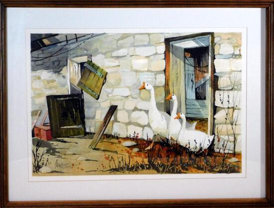 "Pennsylvania Artist John James Watercolor, ""Barn & Geese"""