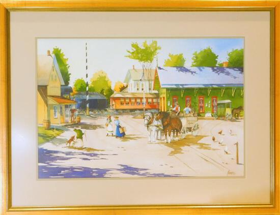 John James, Watercolor, Cresco Train Station