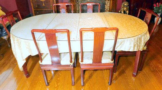 Wooden Dining Table and Chairs, with Custom Glass Panels