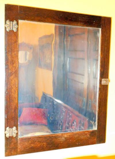 Antique Cabinet Door Framed Mirror
