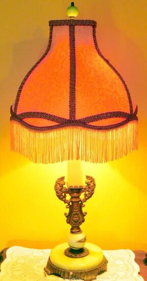 Table Lamp with Fringed Shade
