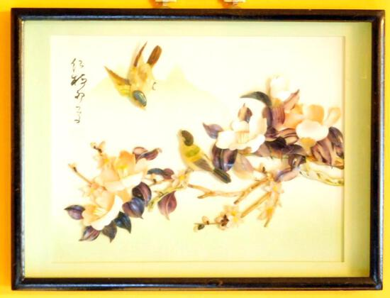 Chinese Bird Art Painting with Mother of Pearl