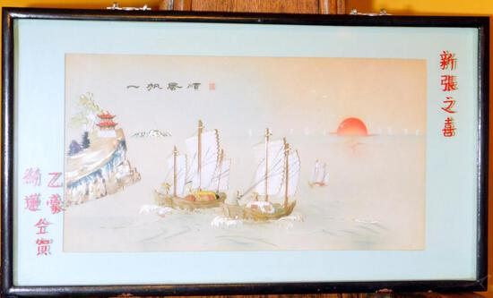 Chinese Nautical Ship Art Painting with Mother of Pearl