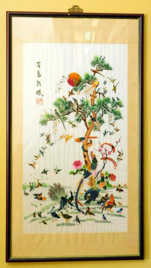 Vintage Chinese Embroidered Bird of Paradise 100 Bird Framed Art