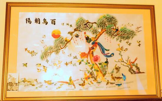 Large Panel Chinese Bird of Paradise 100 Bird Artwork