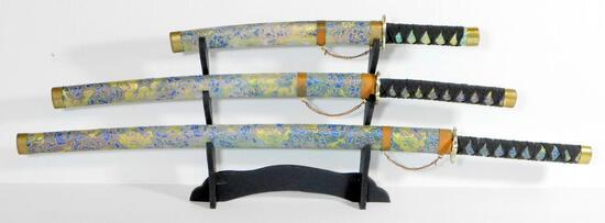 Set of Three (3) Display Samurai Swords and Sheaths with Display Stand