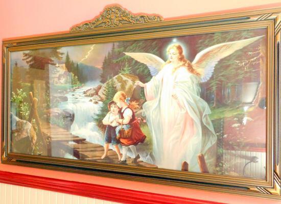 Framed Guardian Angel and Children Artwork