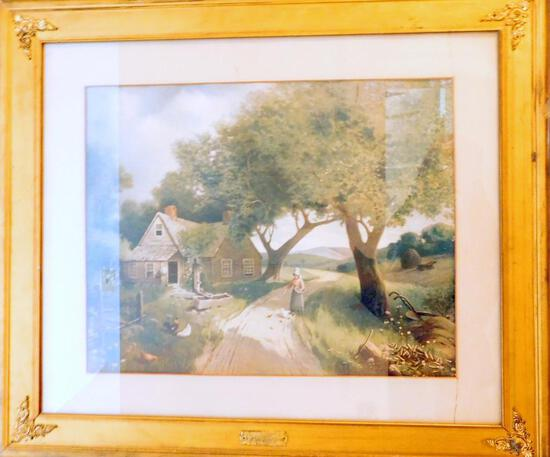 Framed Country Farm Woman with Chickens Artwork