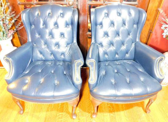 Pair of Navy Blue Leather Chairs by The Hon Co.