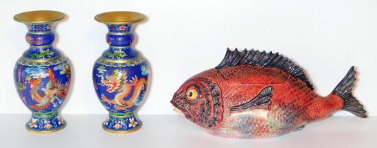 Pair of Blue Dragon Vases and Red Ceramic Fish