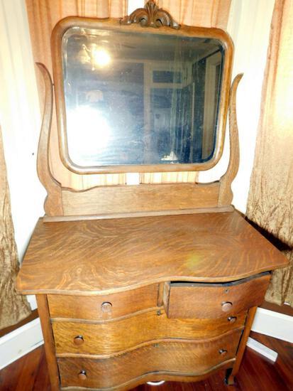 Antique Tiger Oak Curved Front Dresser with Tilt Mirror