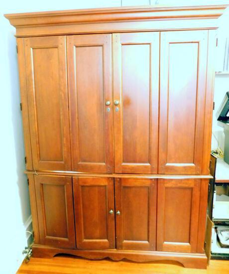 Modern Wooden Armoire with Bi-fold Doors