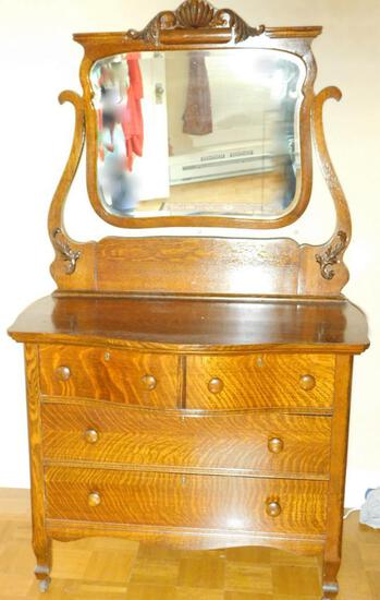 Tiger Oak Curved Front Dresser with Harp Mirror