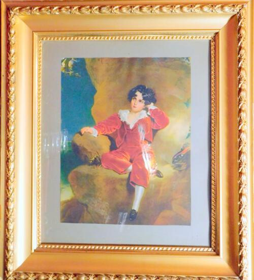 Young Boy in Red Velvet, Print in Wooden Frame
