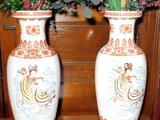 Pair of Asian-Inspired Floor Vases and Floral Centerpiece