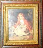 Young Girl with Basket, Print in Wooden Frame