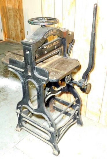 Antique Reliance Paper Cutter, Paul Shniedewend & Co., Chicago