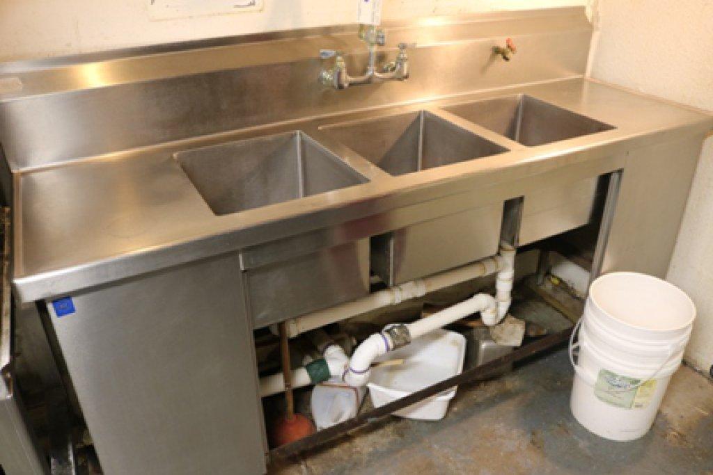 76u201d Stainless 3 Bin Sink W/ Drain Boards U0026 Pre Rinse
