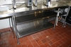 """32"""" x 96"""" stainless island prep station with stainless double under shelves"""