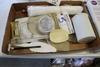 Box of bakery utensils, spatulas, baking cups, plastic dowels