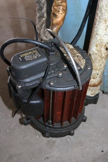 Sump pump in barrel with hose