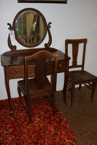 Oak wishbone mirror banditry & two chairs