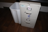 Trash cans & 2 drawer file cabinet