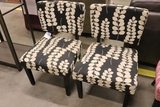 2 black floral chairs