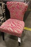 Pink zebra printed chair