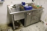 30' x 60' stainless base cabinet with 1 bin sink - 3 drawers