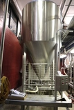 Times 3 - BRD 15 barrel stainless vertical fermentation tanks situated on s