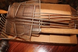 Box flat of fryer skimmer, potato masher, & roller