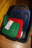 Tote of food storage container lids