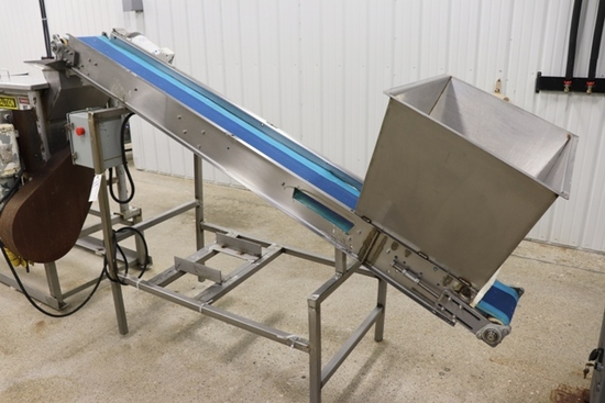 "Blancher conveyor Load - 10"" x 102"" belt - stainless construction - 20"" x 3"