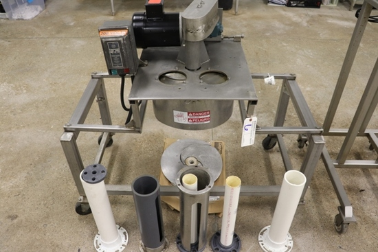 Custom built stainless product cutter with several dies - 1/2 hp - 3 phase