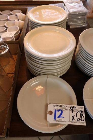 """Times 28 - White 9"""" round plates"""