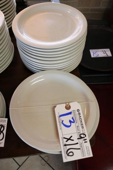 """Times 16 - White 9"""" round plates"""