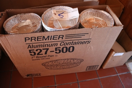 "Case of 7"" round aluminum containers w/ lids"