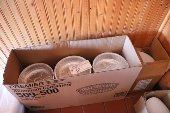 "3/4 Case of 9"" round aluminum containers w/ lids"