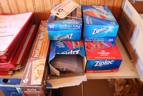 Open & new Ziplock storage bags & parchment paper