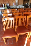 Times 20 - Maple slat back dining chairs w/ brown vinyl seats - Nice!