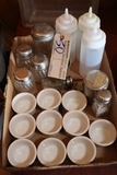 Box of souffle cups, squirts, range shaker