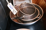 Stainless mixing bowl, strainers, sauce pan