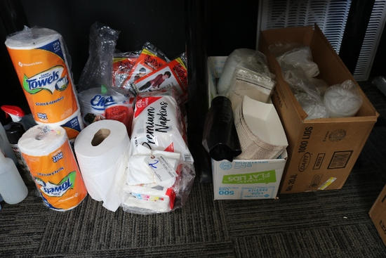 All to go - 3 rolls Paper towels, napkins, food trays, misc. lids & more