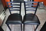 Times 12 - Black metal frame ladder back - black vinyl padded dining chairs