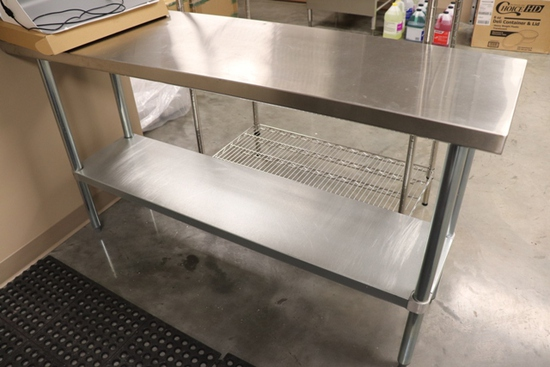 "Regency 600T1860G stainless table with galvanized under shelf - 18"" x 60"""